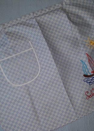 Фартук с вышивкой, кухонный фартук с корабликами, передник, фартух италия
