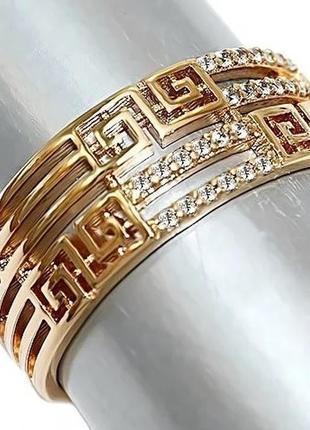 Позолоченное кольцо р.18, позолота 18 карат 585 пробы, xuping