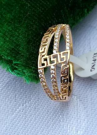 Позолоченное кольцо р.18 - зигзаг с цирконами, позолота 18 карат 585 пробы, xuping