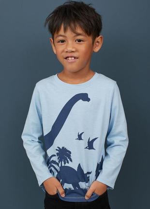 Реглан h&m голубой с динозаврами размер 4-6 лет рост 110-116
