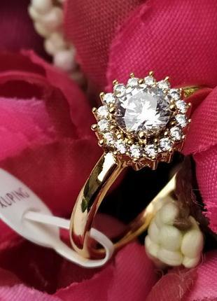 Позолоченное кольцо р.18 c цирконами, позолота xuping