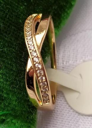 Позолоченное кольцо р.20 - бесконечность с цирконами, позолота 18 карат 585 пробы, xuping