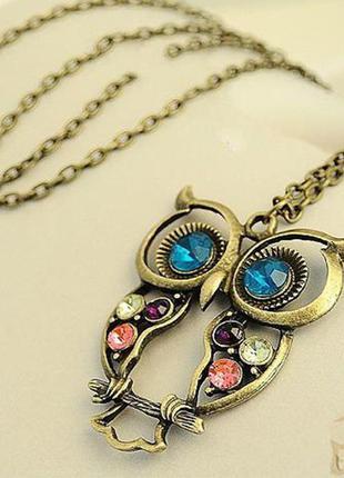 Стильная ретро цепочка с кулоном мудрая совушка колье ожерелье чокер