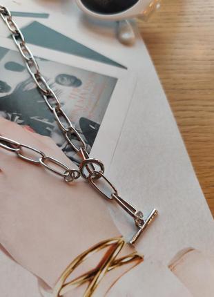 Цепочка цепь колье ожерелье лассо серебристая новая