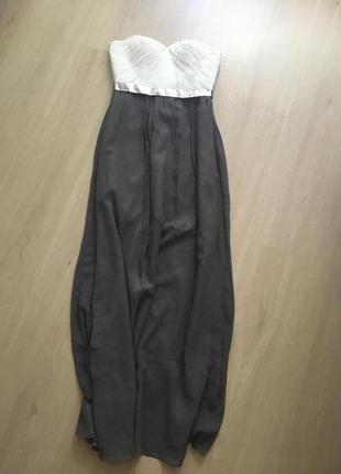 Платье в пол серое с бежевым , свадьба, мероприятие