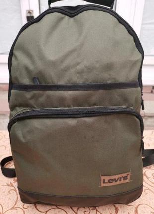 Рюкзак levi's с кожаным дном унисекс 45*30*15 (зеленый)