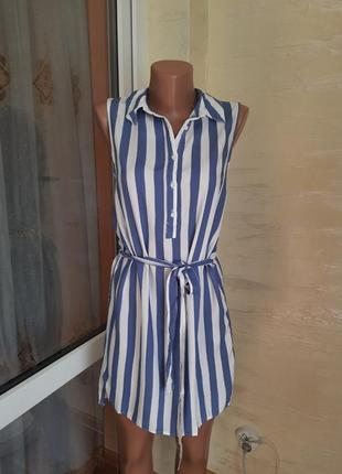 Яркое базовое платье рубашка в полоску новое