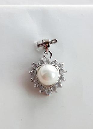 Серебряный кулон с жемчугом и белыми топазами, серебро 925 проба. арт. 301/6