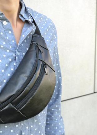 Чоловіча шкіряна бананка сумка на пояс через плече екошкіра