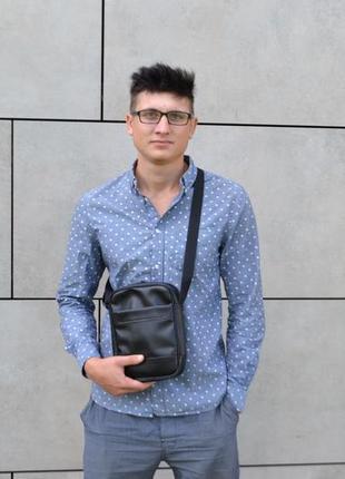 Чоловіча сумка через плече з екошкіри мессенджер месенджер