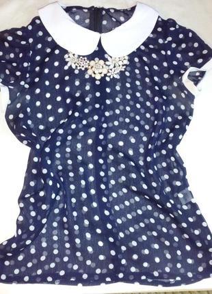 Стильная блуза в горошек