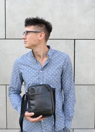Чоловіча шкіряна сумка екошкіра мессенджер месенджер через плече
