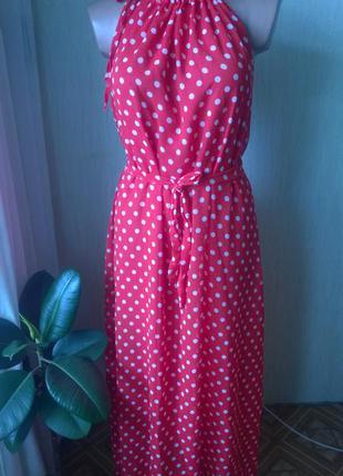 Платье красное горох м