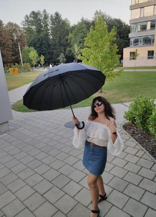 Велика парасоля на 16 спиць тростина система антивітер зонт зонтик трость антиветер