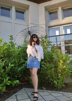 Жіноча прозора парасоля парасолька тростина зонтик прозрачный зонт трость