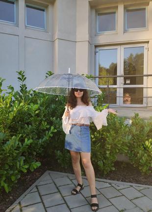 Велика прозора парасоля з білою ручкою прозрачный зонт зонтик
