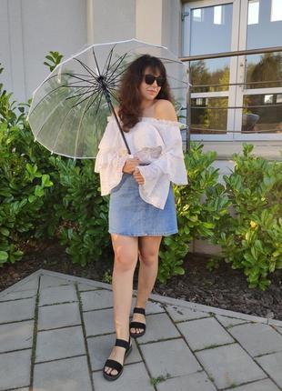 Жіноча прозора парасоля парасолька тростина трость прозрачный зонт зонтик