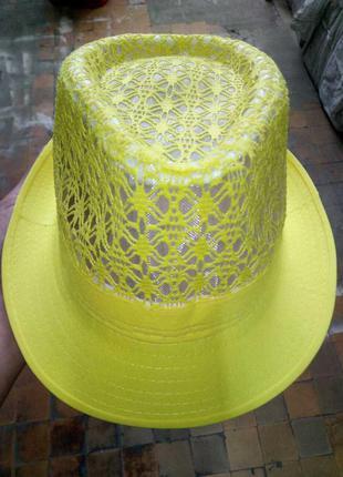 Шляпка летняя федора, челентанка 52-54, 56-58