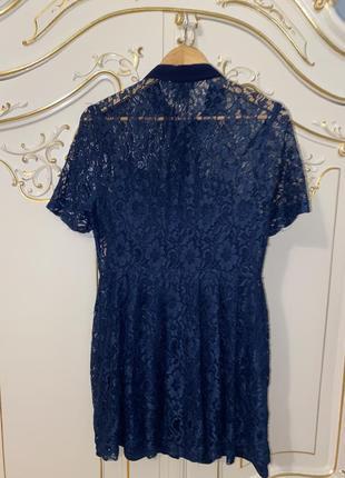 Синие кружевное гипюровое платье topshop2 фото