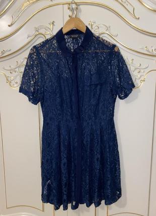 Синие кружевное гипюровое платье topshop