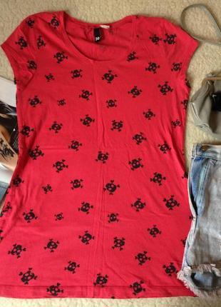 Красная футболка h&m с черепами (100% хлопок!)