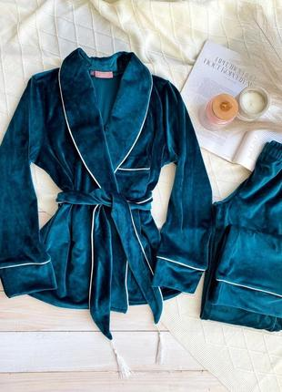 Изумрудный плюшевый костюм для дома, пиджак со штанами, пижама