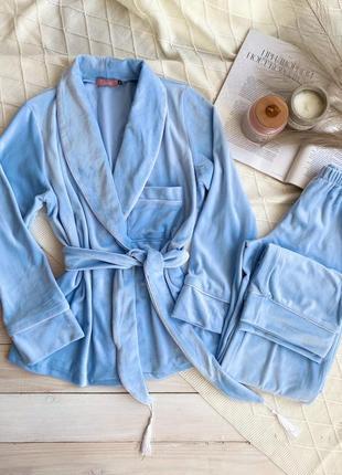 Плюшевый голубой костюм для дома, пиджак со штанами, піжама