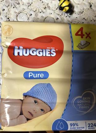 Салфетки влажные huggies pure 56 шт