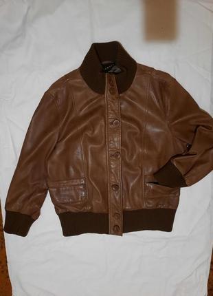 Куртка-бомбер из натуральной кожи молодого ягненка премиум бренда oakwood