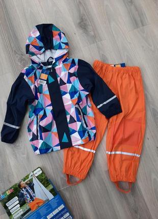 Комплект дождевик куртка и штаны оба без подкладки lupilu 98/104 см геометрия/оранжевый