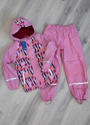 Комплект дождевик куртка и штаны lupilu 86/92 и 110/116 см оба на флисе грязепруф