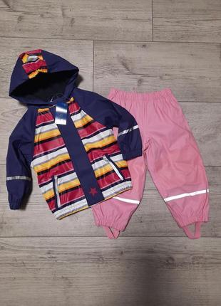 Комплект дождевик куртка и штаны lupilu 86/92 на флисе грязепруф, полоска/розовый