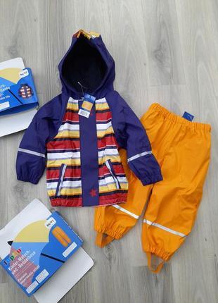 Комплект дождевик куртка и штаны lupilu 86/92 на флисе грязепруф, полоска/оранжевый