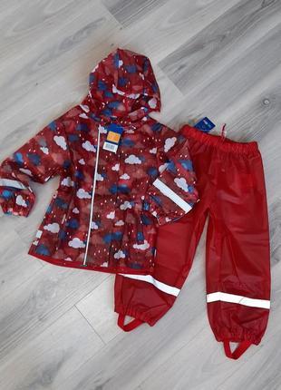 Комплект дождевик куртка и полукомбинезон оба без подкладки lupilu 86/92 красный