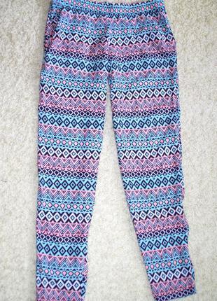 Стильные летние вискозные натуральные брюки лёгкие свободные мятный принт h&m