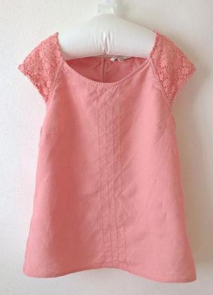 -50% на вторую вещь блуза льняная с кружевом а-силуэт