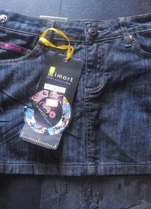 Юбка мини, стильная, оригинальная фурнитура, джинс коттон деним