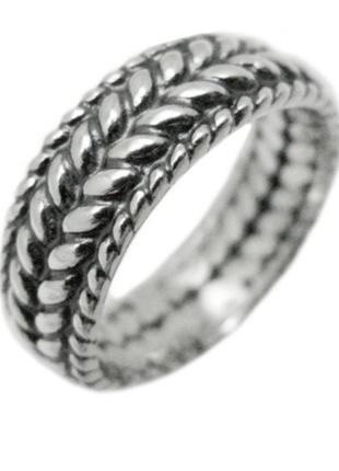 Серебряное кольцо, колосок, косичка, оксидированное серебро, 925