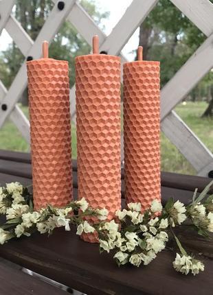 Свечи ручной работы из натуральной вощины с ароматом лаванды/апельсина/меда