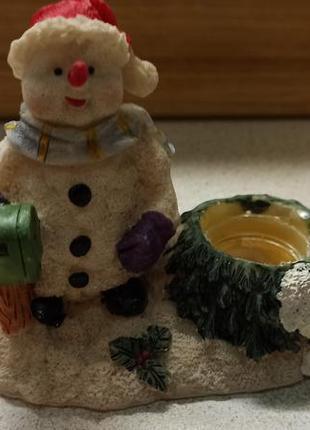 Статуэтка - подсвечник снеговик. англия. happy new year