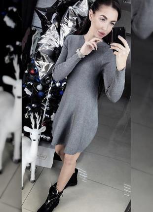 Красивое теплое плотное серое платье миди от mango suit