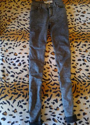 Серые джинсы скинни варенки узкачи джеггинсы с высокой талией