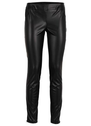Элегантные брюки штаны лосины леггинсы из искусственной кожи под кожу эко кожа с молниями