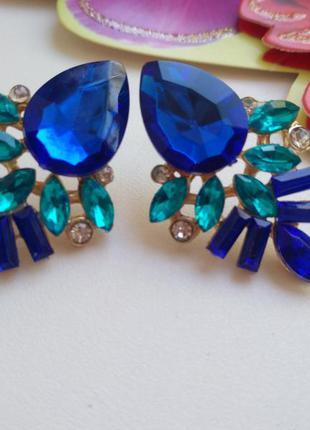 Красивые стильные синие серьги-гвоздики