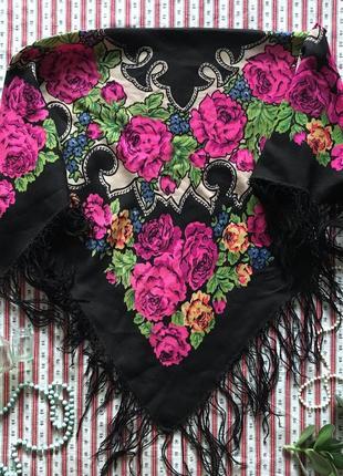 Платок бабушкин ретро винтаж шерсть