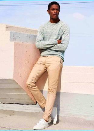 Акция. светлые мужские брюки чинос slim fit от h&m, новые с бирками, есть размеры