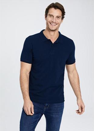 Синяя футболка поло 100% хлопок размеры