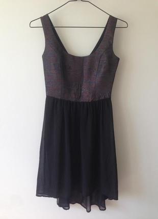 Шикарное платье с  ассиметричным низом и блестящим верхом reserved