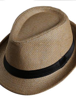 Шляпа, шляпка соломенная панама с полями и лоскутной лентой