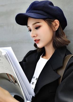 Синяя замшевая кепи / зимняя кепка
